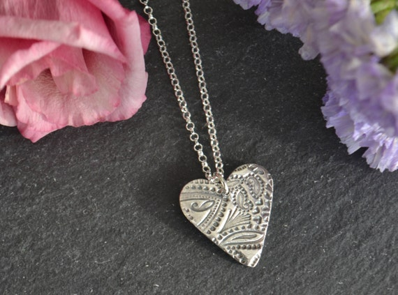 Silver heart necklace. Fine silver paisley pattern heart necklace. Heart pendant, sterling silver, fine silver heart. Heart necklace.