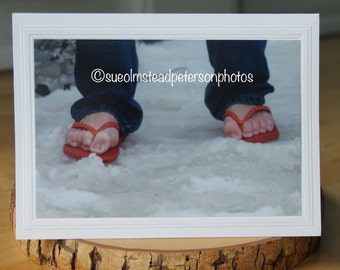 Photo Greeting Card | Handmade Card | Blank Card | Photo Note Card | Photography Card | Blank Photo Card | Flip Flops | Winter | Cold Toes