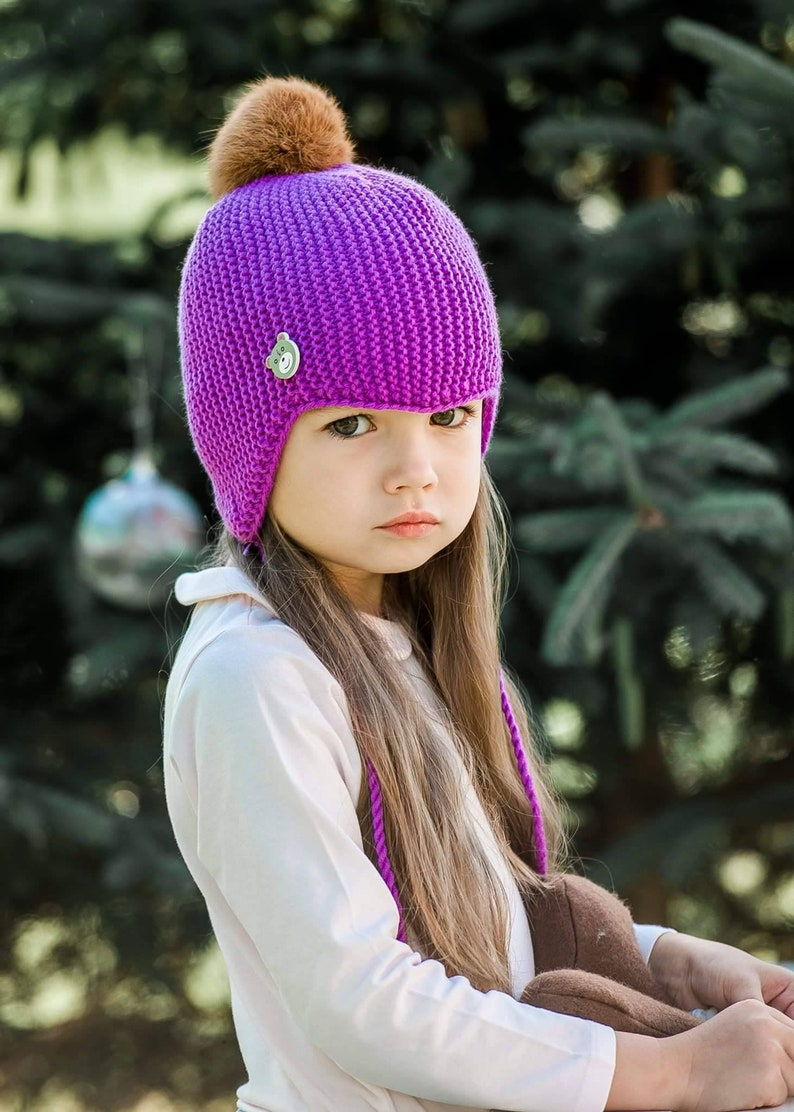 a832a636308 Knit baby hat Kids ear flap hat Newborn hat Hand knitted girl