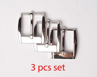 3 pcs Nickel Brass Metal Belt Buckle