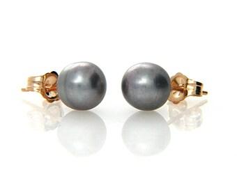 f90bb82b9 Hallmarked 14K Solid Yellow Gold Pearl Stud Earring, Genuine Grey Pearl Stud,  Bridal, Mother, Birthday, Anniversary Graduation Gifts