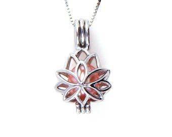 dfcee06968b2 Solid Sterling Silver Lotus Cage Pendant Necklace