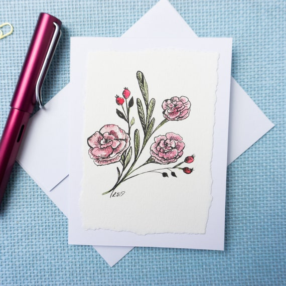 Watercolor Greeting Card, blank inside, flower illustration, thank you card, Mothers day, birthday card, anniversary