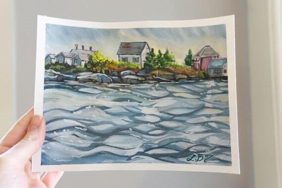 Original Gouache Painting, Blue Rocks, Nova Scotia, ocean landscape
