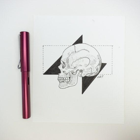 Skull Drawing, Original Pen drawing, Illustration