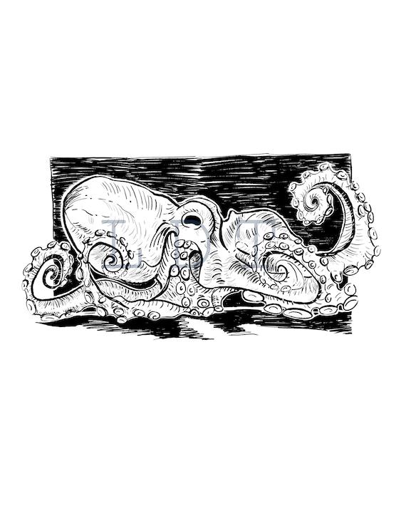 Octopus, Commercial Use, Clip Art, Illustration, Digital Stamp Transfer Image PNG JPG Formats