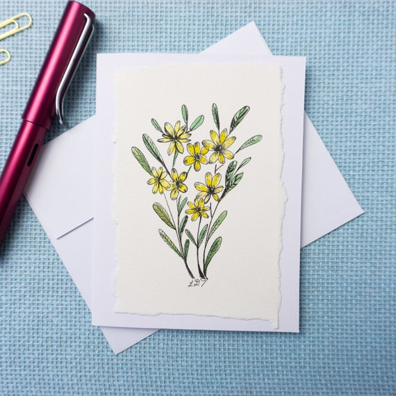 Hand Painted Greeting Card/ Blank inside
