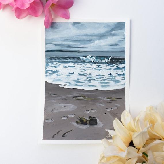 Original Gouache Painting, Waves, Beach Painting, Gouache on Paper