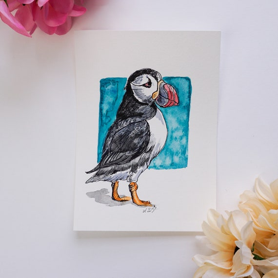 Original Watercolor Painting, Puffin, Watercolor and ink
