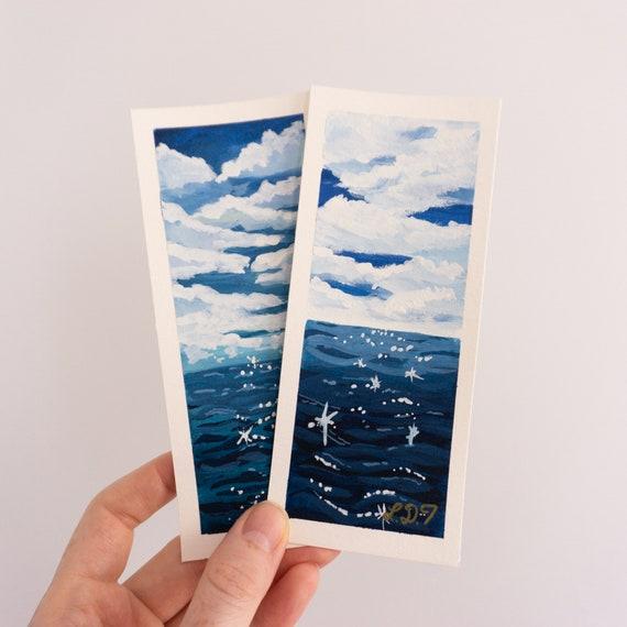 Hand painted bookmarks, Gouache bookmark, Original Art, Hand Drawn, Simple gift idea, unique bookmarks