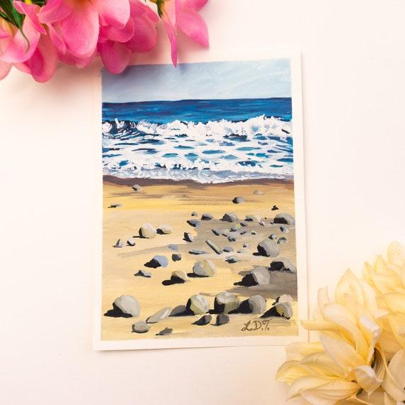 Original Gouache Painting, Beach, Waves, Nova Scotia Art