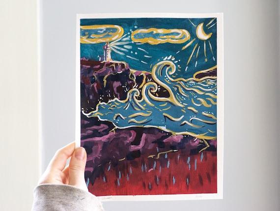 Original Gouache painting, Peggy's Cove, Nova Scotia art