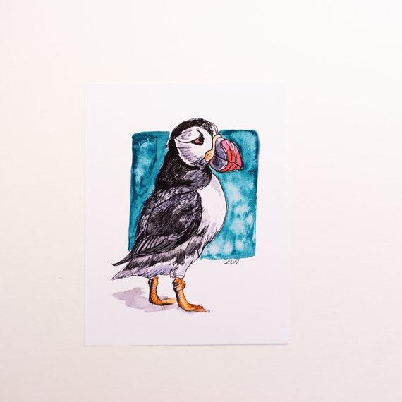 Postcard, Postcard Print, Puffin Illustration, Bird Illustration, sea bird, Original art design