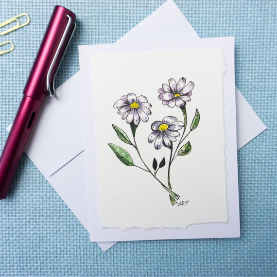 Hand painted watercolor greeting card, blank inside, flower illustration, thank you card, Mothers day, birthday card, anniversary