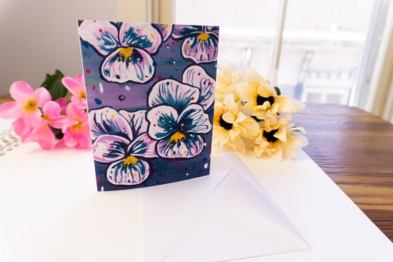 Greeting Card, Blank inside, Pansy illustration, Gift Card, Mother's Day card, Thank You Card