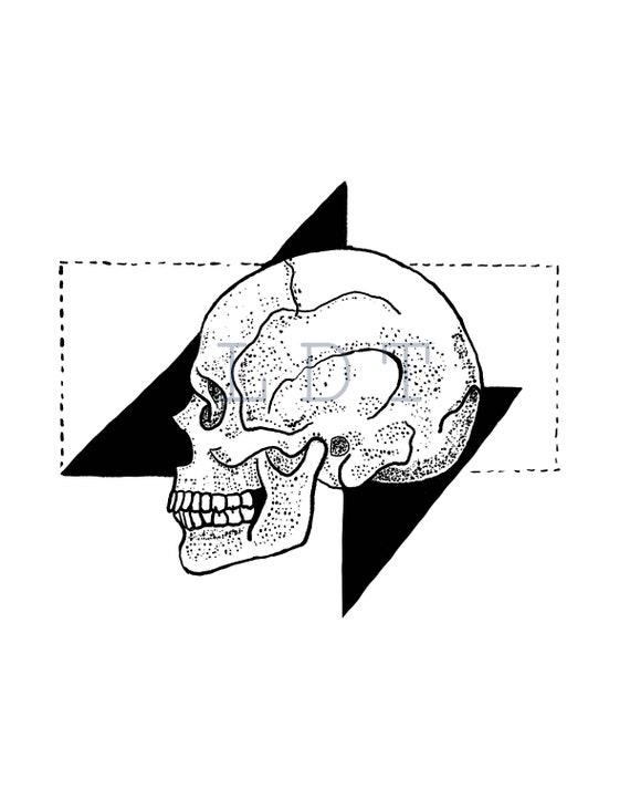 Geometric Skull Commercial Use Clip Art Illustration Digital Stamp Transfer Image PNG JPG Formats