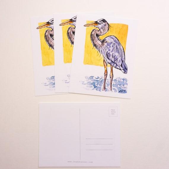 Postcard, Postcard Print, Heron, Blue Heron, Original art design