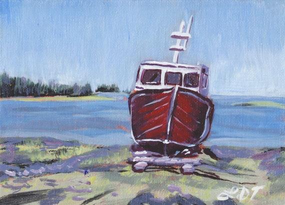 Original Art- EastCoast Art- Small Acrylic Painting, Unframed artwork, Folk art