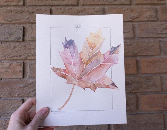 Gouache painting, Maple Leaf, fall