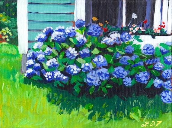 The Neighbour's Hydrangeas, Small Acrylic Painting, Unframed artwork, Folk art