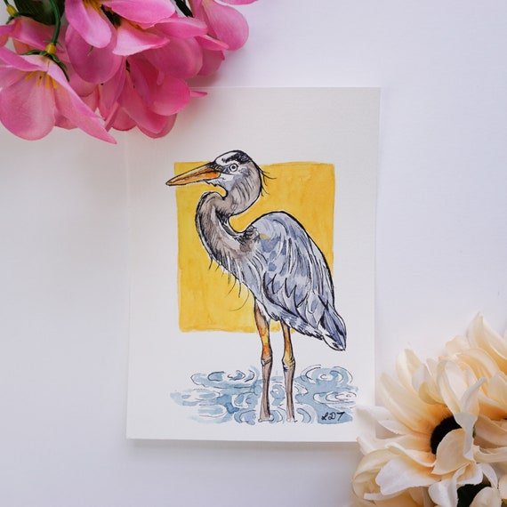 Original Watercolor painting, Blue Heron, Watercolor and Ink on paper
