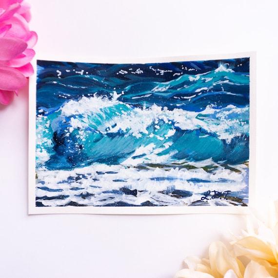 Original Gouache Painting, Waves, Ocean Painting,