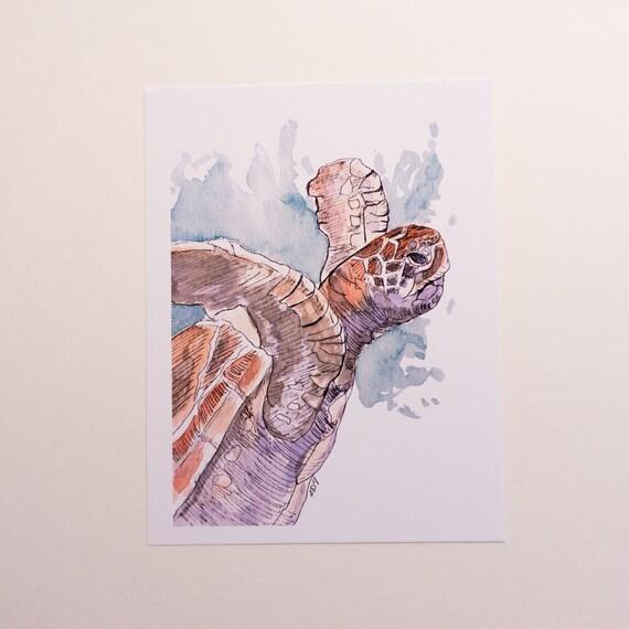 Postcard, Postcard Print, Sea Turtle Illustration, turtle postcard, sea creature, Original art design