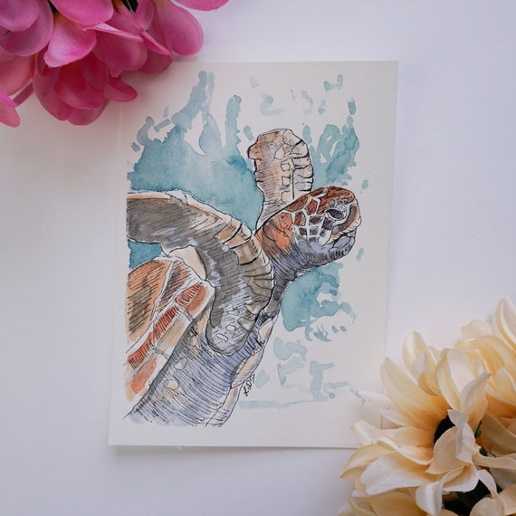 Original Watercolor Painting, Sea Turtle, Watercolour and Ink