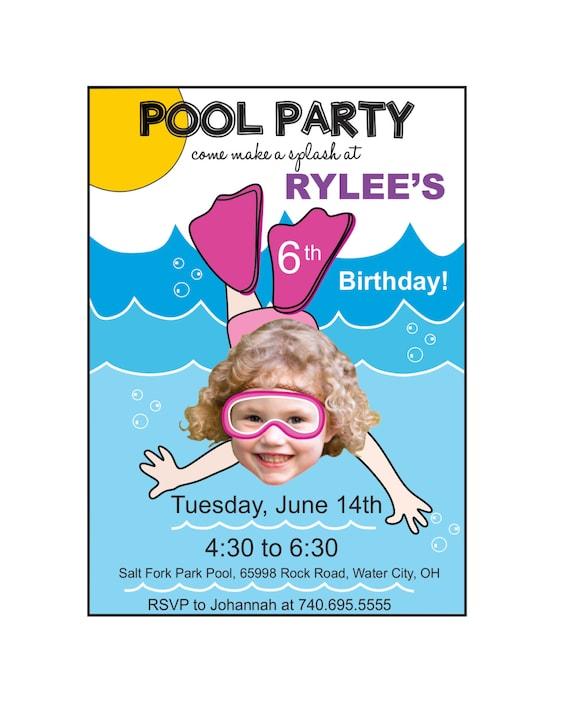 Pool Party Birthday Invitation Custom Photo