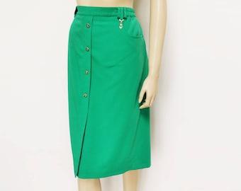 Jupe crayon vert, UK12, Motif ancre, vert vif, jupe de Secrétaire, vêtements Vintage, Boho jupe, jupe Midi, bizarre, vert cru