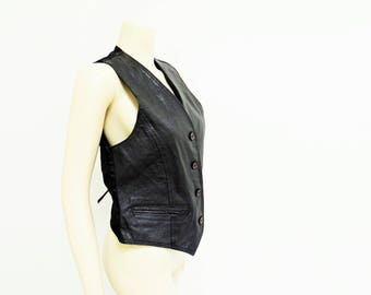Black Leather Waistcoat, Ladies, Size 10, Leather Vest, Vintage Vest, Vintage Waistcoat, Biker, Ladies Clothing, Leather, Vest, Waistcoat
