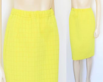 f38ec8332 Yellow Checked Skirt Size 14, 1960s Ladies Fashion, Secretary Skirt, Vintage  Clothing, Yellow Pencil Skirt, Work Clothing Women's
