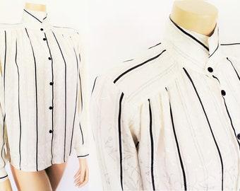 Vintage Blouse Cream Blouse Vintage Clothing Cream Stripes Bohemian Shirt UK10 Ladies Clothing Pinstripe Blouse Secretary Blouse