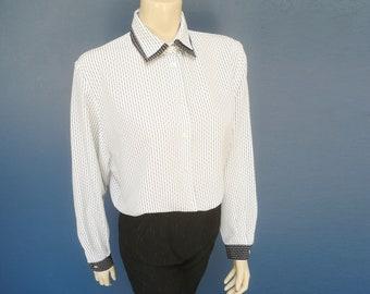 9c4555130fa08e Weißes Hemd UK10, schwarz & weiß Bluse, Sekretär Bluse, schwarz und weiß,  Vintage Kleidung, Damen Vintage Shirt, Androgyne Vintage