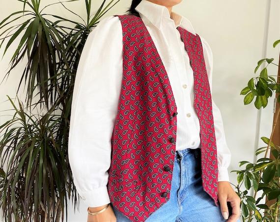 """Red Waistcoat, 42"""", Vintage Vest, Menswear, Vintag"""