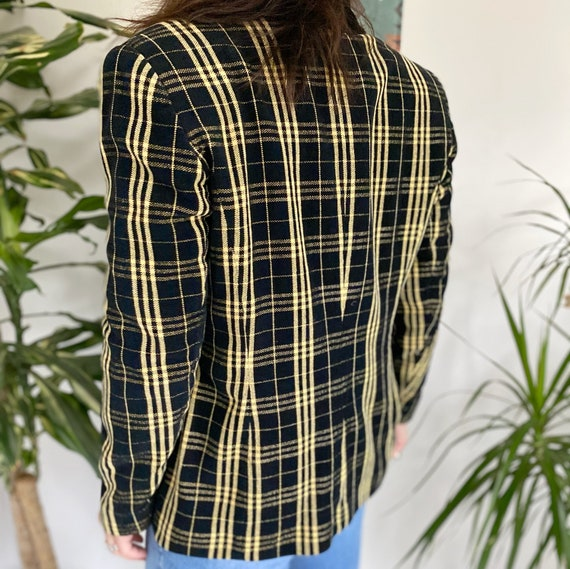 Vintage 90s Jacket, Tartan Jacket, Yellow Tartan … - image 6