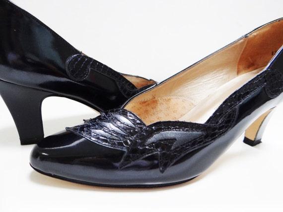 verni cuir r 5 UK4 Vintage noir Style Chaussures Pinup CwEZXHqtCx