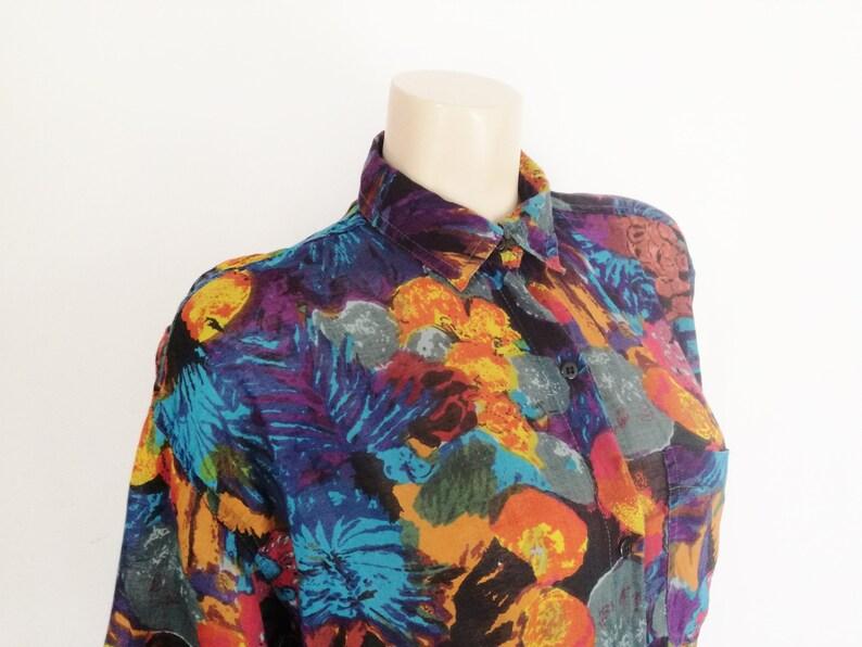 Boyfriend Shirt Tomboy Shirts Boyfriend Fit Shirt Festival Clothing Ladies Boho Blouse Florals Floral Print Blouse Oversized Blouse