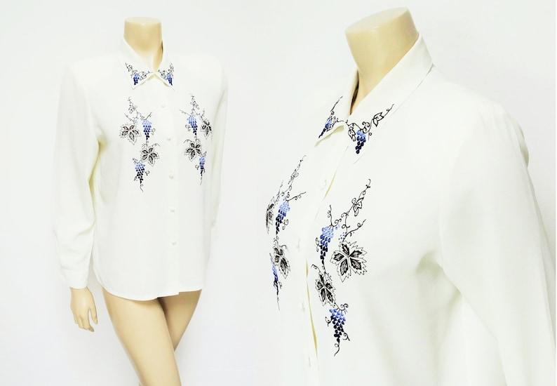 069a6564dd85e Cream Ladies Blouse Size 10 90s Secretary Shirts Vintage