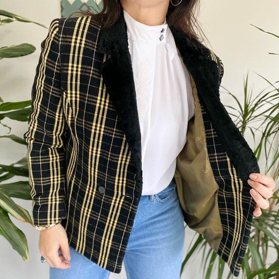 Vintage 90s Jacket, Tartan Jacket, Yellow Tartan … - image 3