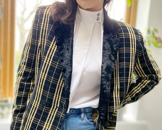 Vintage 90s Jacket, Tartan Jacket, Yellow Tartan … - image 1