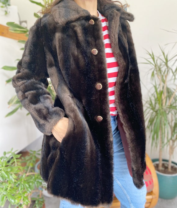 Faux Fur Coat, UK12, Fur Coat, Vintage Clothing, V