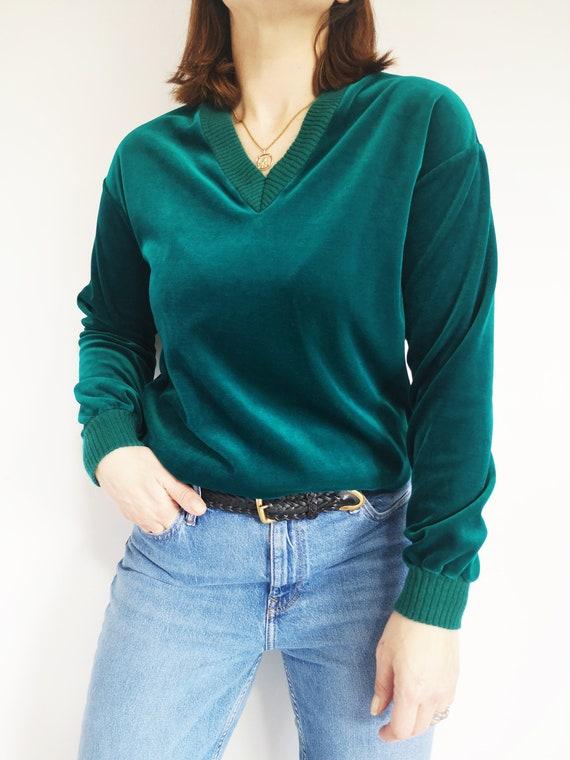 70s Green Velour Sweater, UK14, Track Sweater, Vel