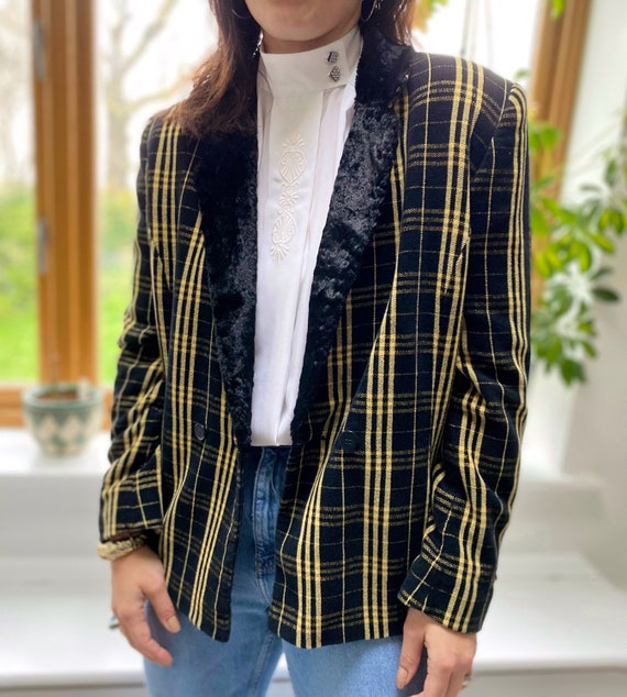 Vintage 90s Jacket, Tartan Jacket, Yellow Tartan … - image 9