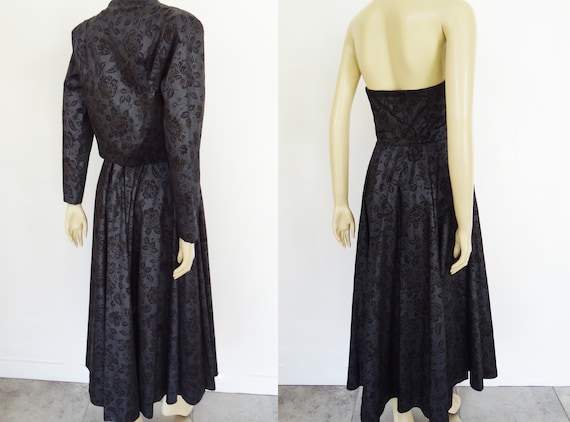 Tie Dress Vintage Vintage Dress Bodice Black UK12 Dress Dress Dress Dress Dress Strapless Suit Prom Laura Ashley Eveningwear w4qq1ZxBvn