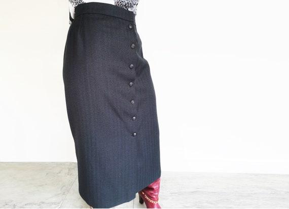 UK14 Long Pencil Skirt, Pinstripe Pencil Skirt, Sm