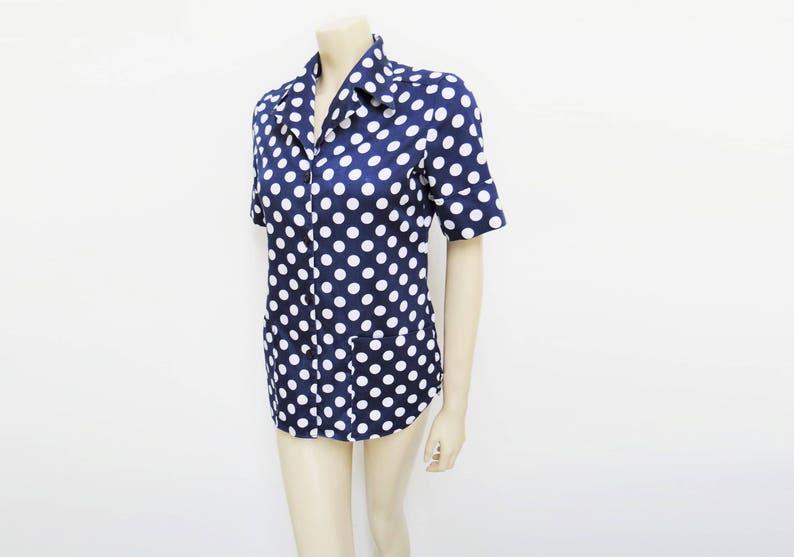Womenswear Vintage Clothing Vintage Spotty Blouse Ladies Vintage Vintage UK10 1960s Clothing Blue Spotty Top Shirts Retro Clothing