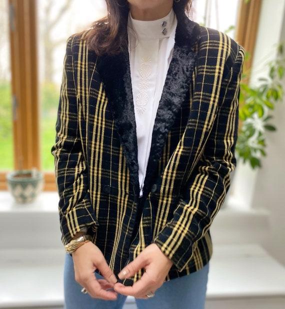 Vintage 90s Jacket, Tartan Jacket, Yellow Tartan … - image 2