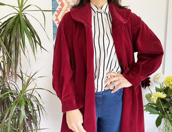 Red Corduroy Coat, Large, Vintage Swing Coat, Red