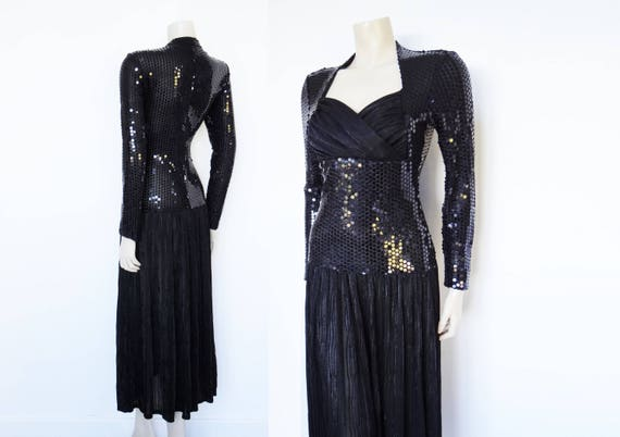 Black Tie Robe Evening Vintage Dress Sequin Dress Dress Black Statement Dress Black Vintage Clothing UK8 Tie Dress Dress Black 8I1qXx
